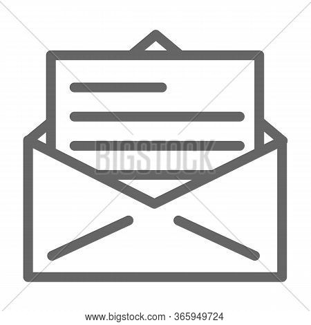 Letter Line Icon, Delivery Symbol, Receive Mail Envelope Vector Sign On White Background, Opened Let