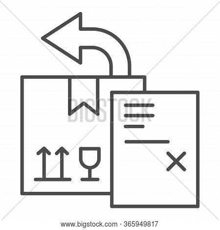 Return Delivery Box With Report Document Thin Line Icon, Delivery And Logistics Symbol, Shipping Box