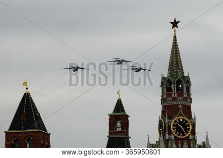 Moscow, Russia - May 9, 2020:il-76md Military Transport Aircraft During The Air Parade In Moscow Ded