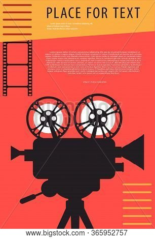 Cinema Background. Silhouette Of Vintage Cinema Projector On A Tripod. Film Festival Template For Ba