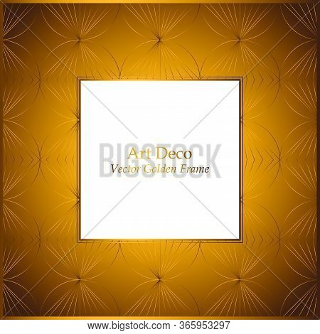 Frame With Golden Pattern. Shells Ornament White Background. Vector Luxury Frame. 1920-30s Motifs. S
