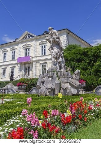 Statue At The Mirabell Gardens By Beautiful Summer Day, Salzburg, Austria