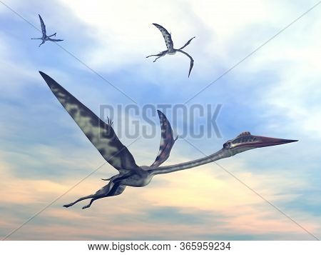 Three Quetzalcoatlus Flying Together By Sunset - 3d Render