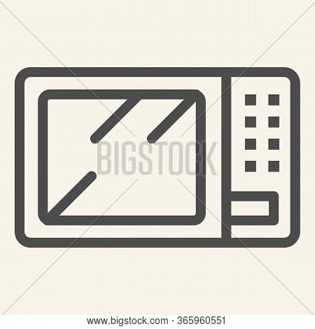 Microwave Line Icon. Board Microwave Oven Symbol, Outline Style Pictogram On Beige Background. Kitch