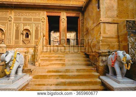 Laxmi Nath Ji Ka Mandir Laxminath Temple Hindu shrine inside Jaisalmer Fort. Jaisalmer, Rajasthan, India
