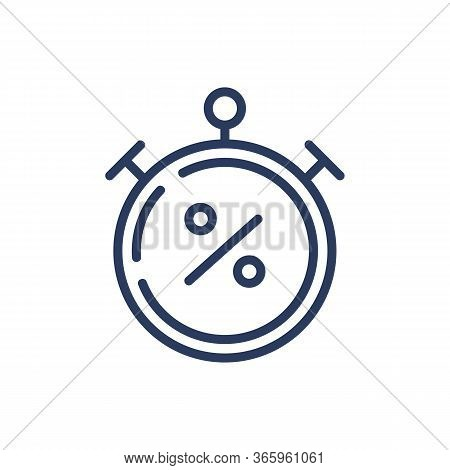 Clock And Percent Sign Thin Line Icon. Finance, Timing, Delay Isolated Outline Sign. Bank Lending An