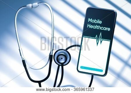 Mobile Phone Connected With Phonendoscope. Concept Of Communication Between Doctor And Patient, Onli