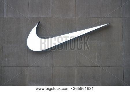 SHENZHEN, CHINA - CIRCA APRIL, 2019: close up shot of Nike sign seen at UpperHills in Shenzhen.