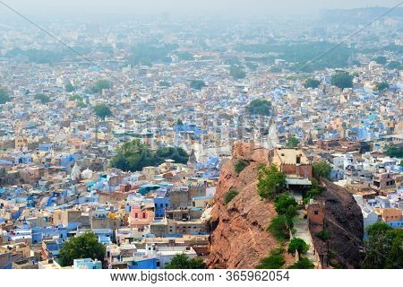 Aerial view of Jodhpur, also known as Blue City due to the vivid blue-painted Brahmin houses around Mehrangarh Fort. Jodphur, Rajasthan
