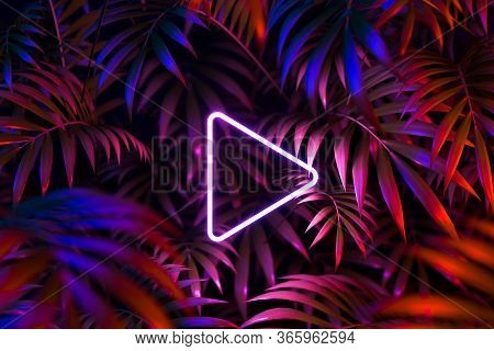 Play Movie Icon, Cinema Projector On Tropic Leaves Background. Online App For Watching Tv Series And