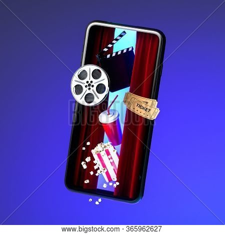 Mobile Phone Screen With Flying Out Popcorn Bowl, Takeaway Cup For Drinks, Tickets, Film Reel And Mo