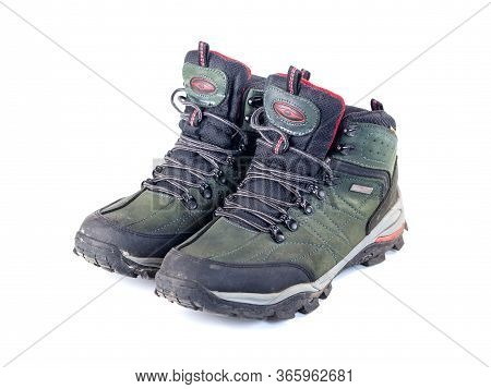 Pair Of Used Hiking Boots Isolate On White Background