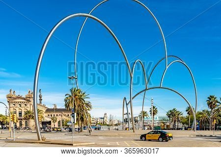 Barcelona, Spain - November 07 2018: Abstract Sculpture Onades (waves) By Andreu Alfaro Hernández, I
