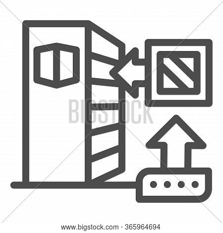 Shelf For Goods And Box Line Icon, Delivery Packaging Logistics Symbol, Warehouse Shelves With Box D