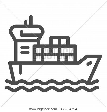 Shipping Vessel With Containers Line Icon, Delivery And Logistics Symbol, Cargo Ship Vector Sign On