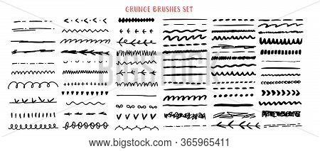 Vector Line Grunge Sketch Border Set. Hand Drawn Brush Pen Stroke, Pencil Devider, Black Element