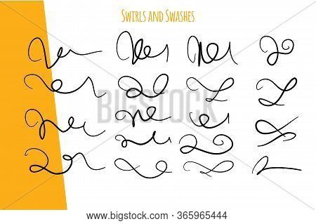Vintage Swirl Set. Handwritten Flourish Ornament Set. Vintage Vector Decoration. Line Vector For Vin