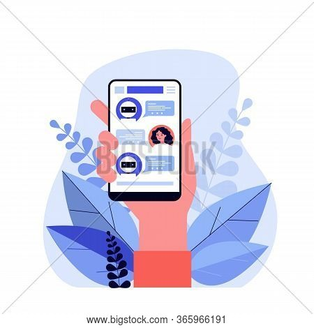 Hand Holding Smartphone With Text Messages Flat Vector Illustration. Modern Mobile Screen With Onlin