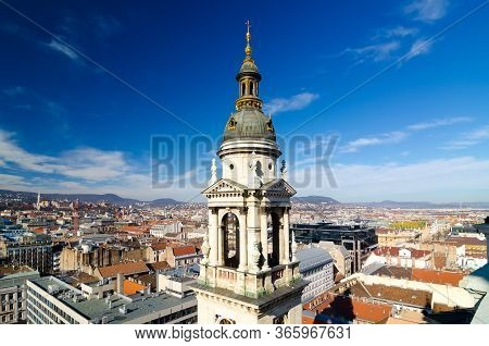 Panorama Of Budapest, Hungary Taken From The Tower Of Saint Istvan Cathedral