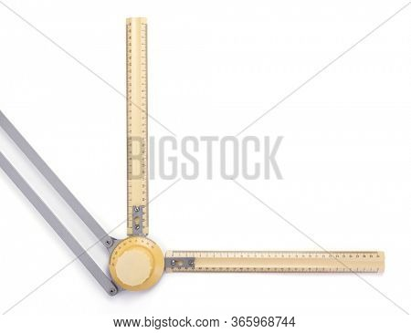 ruler from drafting or drawing table on white background, top view
