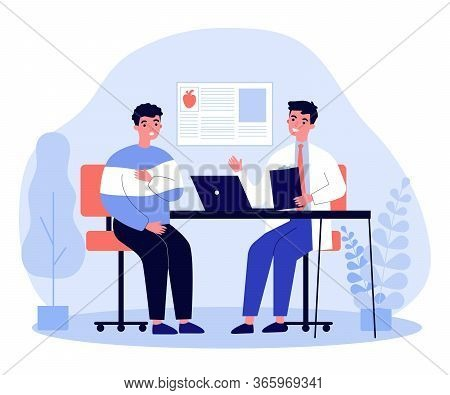 Young Man Suffering With Heart Disease. Cardiologist Consulting Patient In Pain Flat Vector Illustra