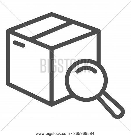 Box With Magnifying Glass Line Icon, Delivery And Logistics Symbol, Package Tracking Vector Sign On