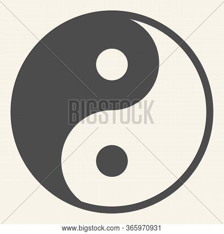 Yin Yang Solid Icon. Harmony And Balance Symbol, Glyph Style Pictogram On Beige Background. Yin-yang