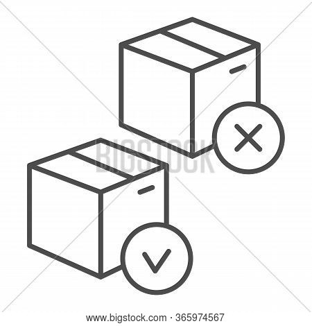 Cardboard Boxes Approved And Rejected Thin Line Icon, Logistic And Delivery Symbol, Parcel With Chec