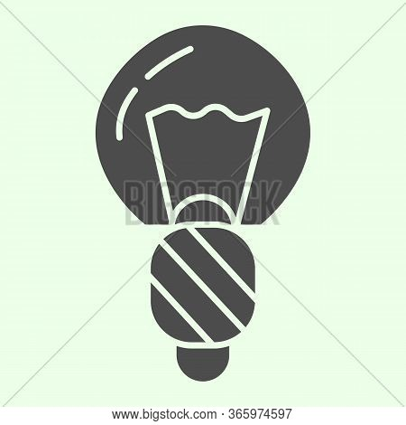 Light Bulb Solid Icon. Electric Illumination Halogen Lamp Glyph Style Pictogram On White Background.