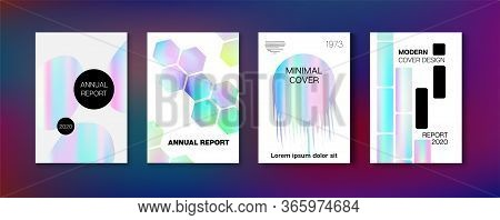 Holographic Gradient Vector Background. Hologram Business Soft Covers Set. Fluorescent Gradient Over