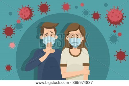 Coronavirus Panic Concept. Stressed Anxious People Wearing Face Masks Inside Round Bubble Surrounded
