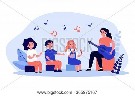 Young Woman Playing Guitar For Children Flat Vector Illustration. Cartoon Kids Singing, Clapping And