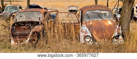 Okemah, Ok - 2 Mar 2020: Wrecked Volkswagon Cars In Rusty And Deteriorating Condition, With Missing
