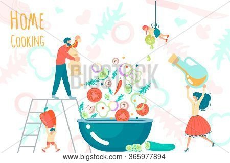 Cute Family Spending Good Time Together While Cooking At Home. Tiny People Making A Salad On Cooking