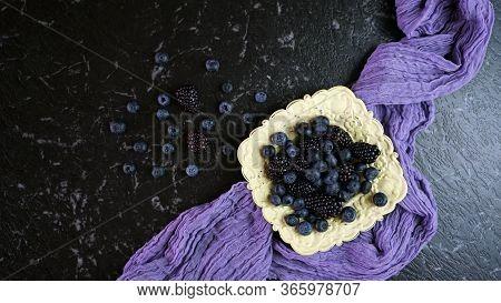 Summer Berries With Blueberries And Blackberries In Vintage Setting.