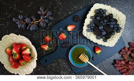 Summer Berries In Vintage Setting Creative Flatlay Top View.