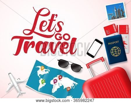 Let's Go Travel Vector Banner Design. Let's Go Travel Text In White Space For Messages With Travelli