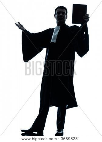 one caucasian lawyer man pleading silhouette in studio isolated on white background poster