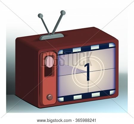 Old Analog Tube Television With A Countdown To The Start Of The Movie On The Screen. Old Film In Ret
