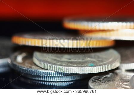 Golden Coin And Old Coin Stacking, Golden Coin And Old Coin
