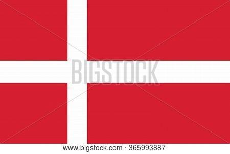 Denmark Flag Vector Graphic. Rectangle Danish Flag Illustration. Denmark Country Flag Is A Symbol Of
