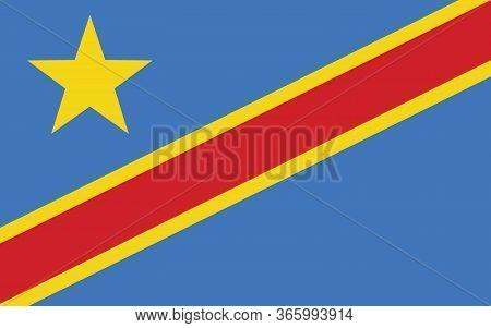 Dr Congo Flag Vector Graphic. Rectangle Congolese Flag Illustration. Democratoc Republic Of Congo Co