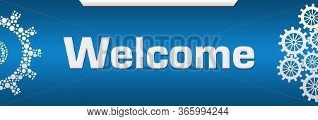 Welcome Text Written Over Blue Horizontal Background.