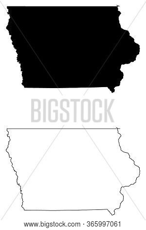 Iowa Ia State Maps. Black Silhouette And Outline Isolated On A White Background. Eps Vector
