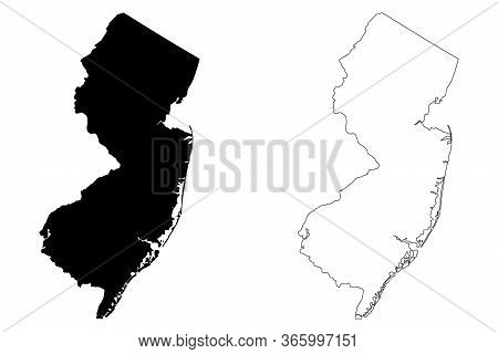 New Jersey Nj State Maps. Black Silhouette And Outline Isolated On A White Background. Eps Vector
