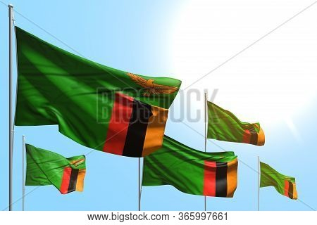 Pretty 5 Flags Of Zambia Are Waving On Blue Sky Background - Any Holiday Flag 3d Illustration