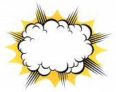 cartoon cloud after the explosion over white background poster