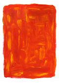 Vibrant orange abstract oil painting isolated on white. Hand-painted. poster