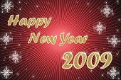 happy new year golden text on red background with stars poster