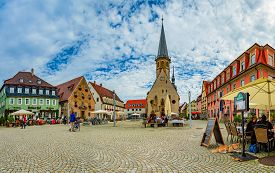 Weikersheim, Germany - September 24, 2014: Old Square With Cathedral In Weikersheim, Bavaria, German